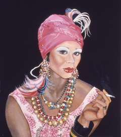 Sylvia Shap Realist Artist: Portrait of 'Teddy as Carmen Miranda'