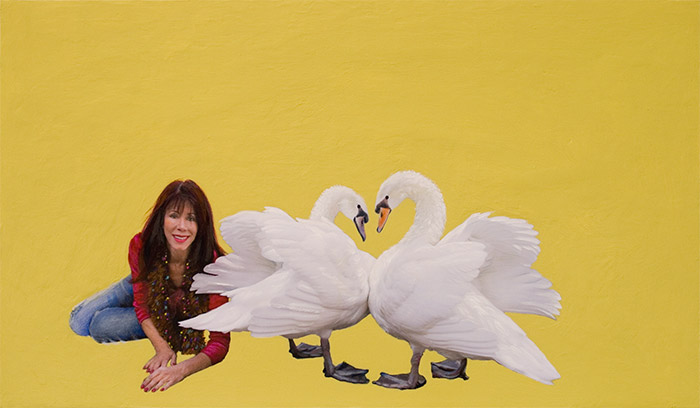 Sylvia Shap Realist Artist: Portrait of 'Nanci and Her Swans'